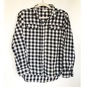 Per Se black & white plaid button down shirt small
